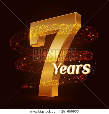 7 Years Golden Anniversary 3d Logo Celebration With Gold Glittering Spiral Star Dust Trail Sparkling