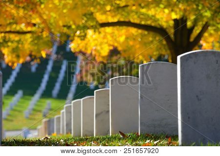 Arlington National Cemetery in Autumn colors - Circa Washington DC United States of America