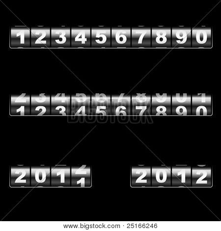 Out-dated universal mechanical counter vector template with two examples of usage – changing 2011 to 2012 year and 2012 year. Easy to edit and combine any numbers.
