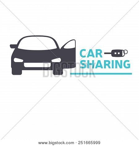 Car Sharing Service Icon Design Concept. Carsharing Renting Car Mobile App Logo Template. Rental Car