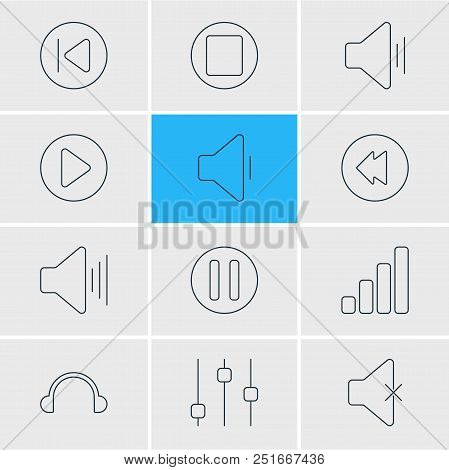 Vector Illustration Of 12 Music Icons Line Style. Editable Set Of Mute, Volume Down, Upward Sound An