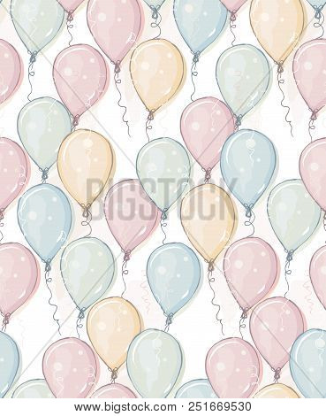 Hand Drawn Balloons Vector Pattern. Pastel Colors. Watercolor Style Design. Flying Balloons. Pink, B