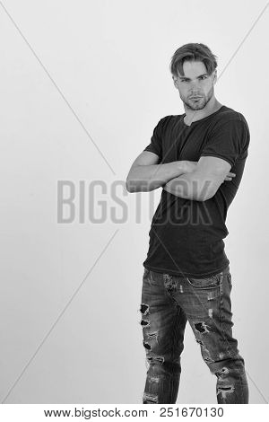 Macho With Confident Face And Crossed Arms, Copy Space, Man With Fair Hair On White Background. Masc