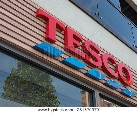 Tesco Supermarket Storefront In London