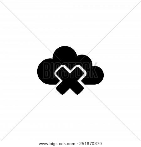 Access Cloud Data Denied. Flat Vector Icon Illustration. Simple Black Symbol On White Background. Ac