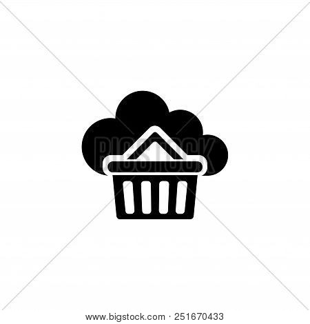 Buy Cloud Storage. Flat Vector Icon Illustration. Simple Black Symbol On White Background. Buy Cloud