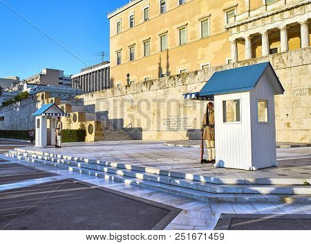 Athens, Greece - June 29, 2018. Greek Presidential Guard, Evzones, Standing In Front Of Monument Of