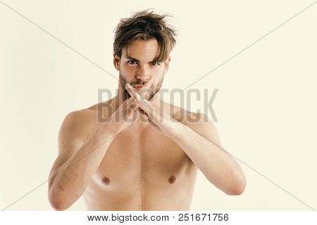 Man With Confident Face And Bristle Isolated On White Background. Karate Fighter With Fit Strong Bod