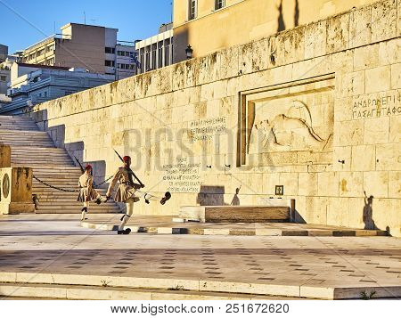 Athens, Greece - June 29, 2018. Evzones, Members Of The Presidential Guard, During The Change Of The