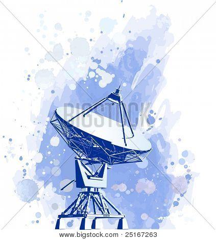 Satellite dishes antenna (doppler radar). watercolor background. Bitmap copy my vector id 16819501