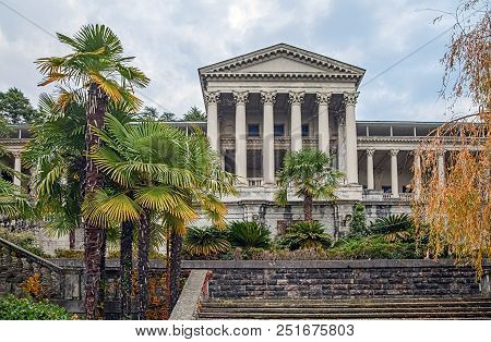 Sochi, Russia - November 28, 2015: Ancient Building Of The Ordzhonikidze Sanatorium. Sanatorium Ordz
