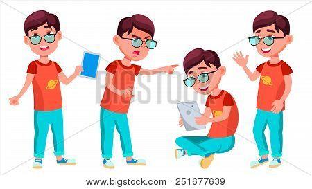 Boy Schoolboy Kid Poses Set Vector. Primary School Child. Schooler. Young People. University, Gradua