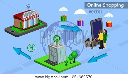 Mobile Shopping E-commerce Online Store And Bank Flat 3d Web Isometric Icon With People