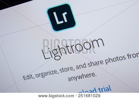 Ryazan, Russia - July 11, 2018: Adobe Lightroom, Software Logo On The Official Website Of Adobe