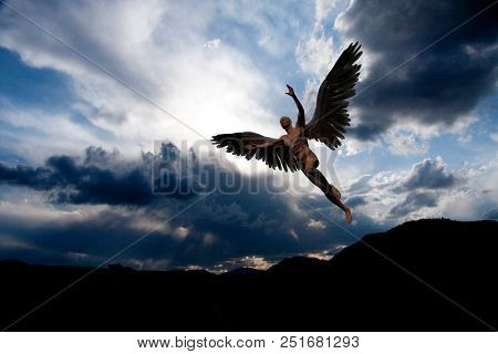 Naked man with white wings in cloudy sky symbolizes angel. 3D rendering