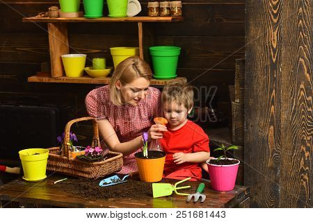 Wetting Concept. Woman And Little Child Wetting Green Plant With Water Spray. Wetting With Water. We
