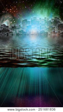 Fantasy City and Underwater Scene. 3D rendering