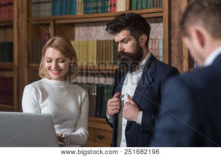 Research Concept. Business People Use Computer Technologies For Making Research. University Students