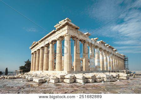 Parthenon On The Acropolis Of Athens, Greece. Famous Parthenon Is The Main Landmark Of Athens. Ruins