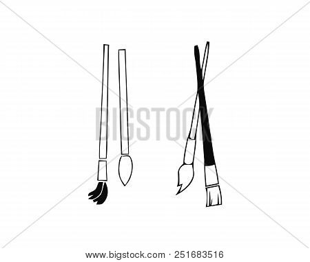 Paint Brushes Vector Icon On White Background. Paint Brushes Modern Icon For Graphic And Web Design.