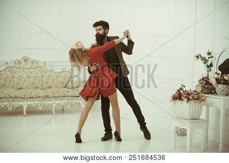 Relationship Concept. Sexy Woman And Handsome Man Develop Relationship In Dance. True Love And Relat