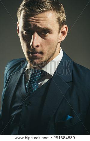 Hair Concept. Man With Blond Hair. Businessman With Unshaven Face Hair. Hair Salon. The Best A Man C