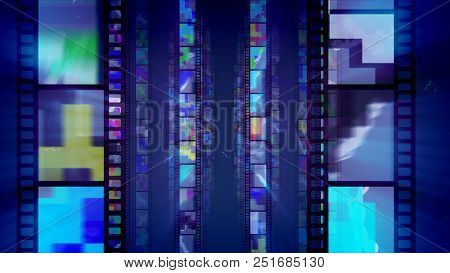 Three Blue Rows Of Retro Film Tapes