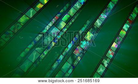 Four Sparkling Green Film Stripes