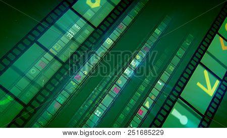 Retro Film Stripes In Green Background