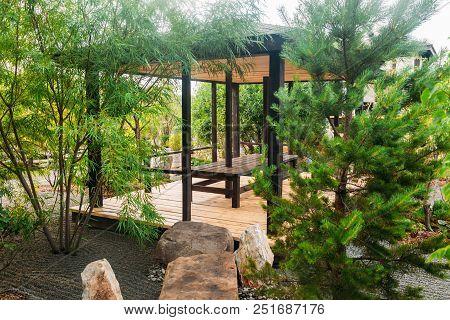 Beautiful Japanese Stone Garden Landscape In Summer