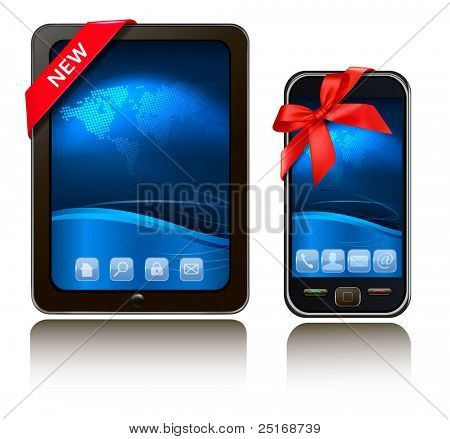 Tablet Computer and mobile phone with ribbons. Vector.