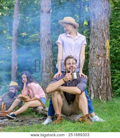 Company Friends Couples Or Families Enjoy Relaxing Together Forest. Find Companion To Travel And Hik