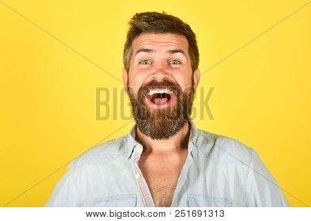 Happy Bearded Man. Man With Long Beard And Mustache. Bearded Man Smiling. Feeling And Emotions. Clos