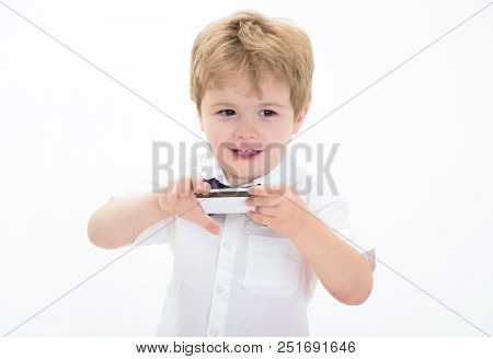 Credit Card. Smiling Boy Showing Blank Credit Card. Cash. Business-card. Plastic Bank Card With Mags