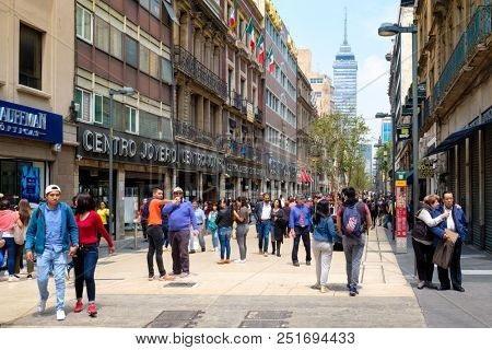 MEXICO CITY,MEXICO - JULY 15,2018 : The historic center of Mexico City with the Latin-American tower on the background