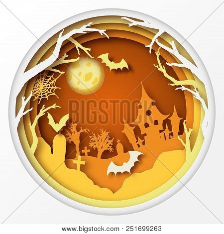 Paper Art Halloween Background With Haunted House, Fool Moon, Cemetery With Graves, Dead Tree Branch