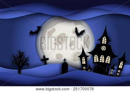 Paper Art Halloween Night Background With Haunted House, Flying Bat, Graves And Fool Moon. Modern Pa