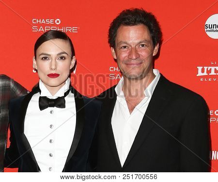 PARK CITY, UT / USA - JAN 20, 2018: Keira Knightley (L) and Dominic West attend the