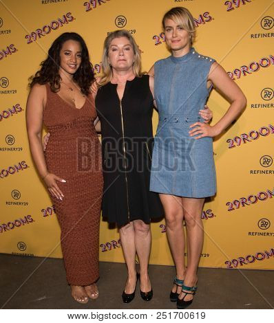 CHICAGO - JUL 25: (L-R) Actresses Dascha Polanco, Kate Mulgrew and Taylor Schilling attend Refinery29's