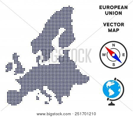 Dot European Union Map. Abstract Geographic Map. Points Have Rhombic Form And Dark Blue Color. Vecto