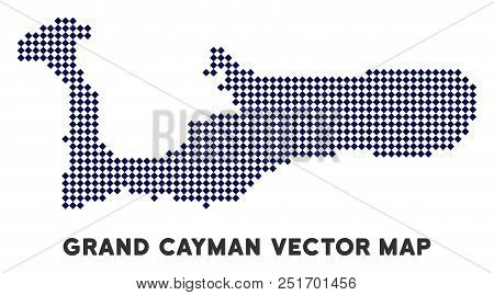 Pixelated Grand Cayman Island Map. Abstract Geographic Map. Points Have Rhombus Form And Dark Blue C