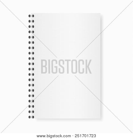 Vector Mock Up Realistic Opened Notebook. Vertical Blank Copybook With Metallic Silver Spiral. Templ