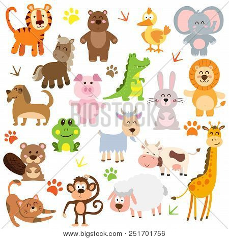 Vector Illustration Of Cute Animals And Birds: Alligator, Fox, Giraffe, Bear, Cat, Dog, Elephant, Fr