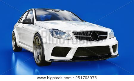 Super Fast White Sports Car On A Blue Background. Body Shape Sedan. Tuning Is A Version Of An Ordina