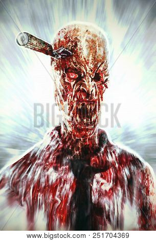 Zombie Clerk With Knife In His Head. Scary Character Illustration. Genre Of Horror.