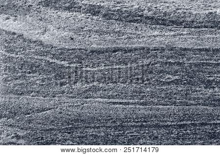 Migmatitic Gneiss Migmatite Rock Bands Pattern, Grey Light Dark Banded Granite Texture Macro Closeup