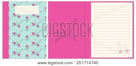 Colorful Cover Design With Boho Hand Drawn Floral Pattern For Decorate Notebook Sketchbook Copybook Album Diary A5 Template Interior