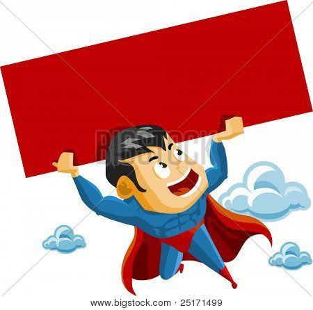 Superhero lifts Sign. Detailed vector Illustration.