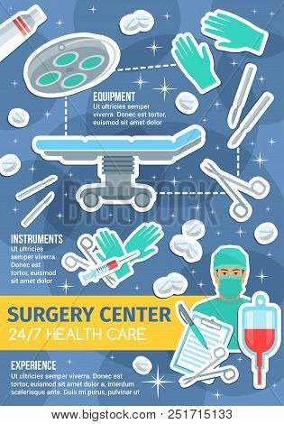 Surgery Medical Center Or Clinic Service Poster. Vector Flat Design Of Surgeon Operation Table, Scis