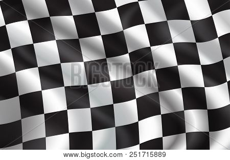 Checkered Flag Pattern Of Car Racing. Vector 3d Background Of White And Black Squares On Waving Flag